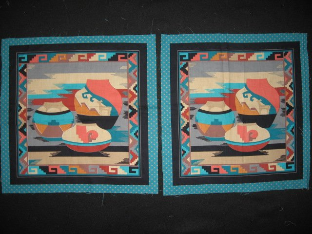 Southwest pottery fabric pillow panel set of two the same Rare