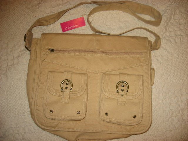 Lap top satchel soft tan cloth bag carrying case /