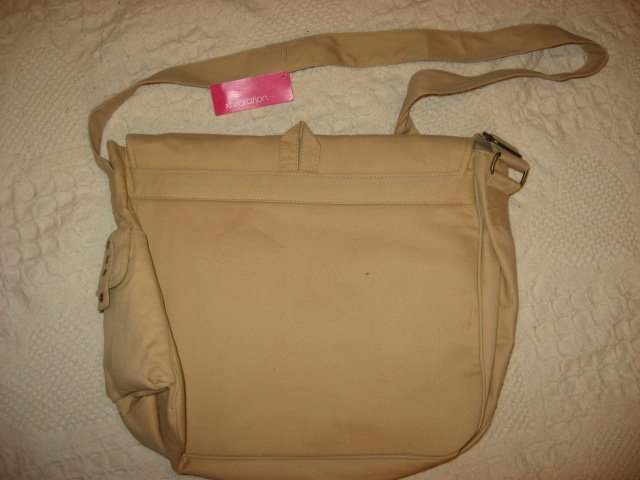 Image 2 of Lap top satchel soft tan cloth bag carrying case /