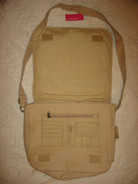 Image 1 of Lap top satchel soft tan cloth bag carrying case /
