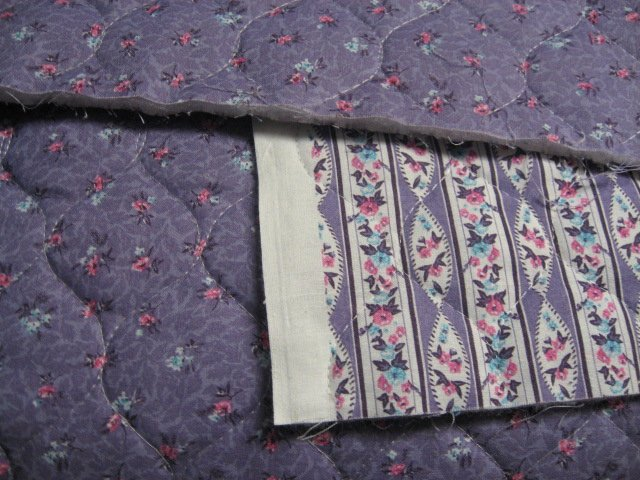 Image 0 of Flowers and stripes double faced lilac Quilted floral Fabric to Sew