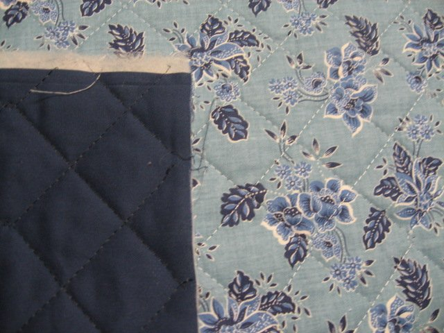 Flowers on double faced blue Quilted floral Fabric to Sew