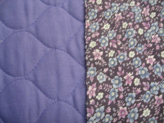 Image 0 of Flowers and plain backside double faced lilac Quilted floral Fabric to Sew