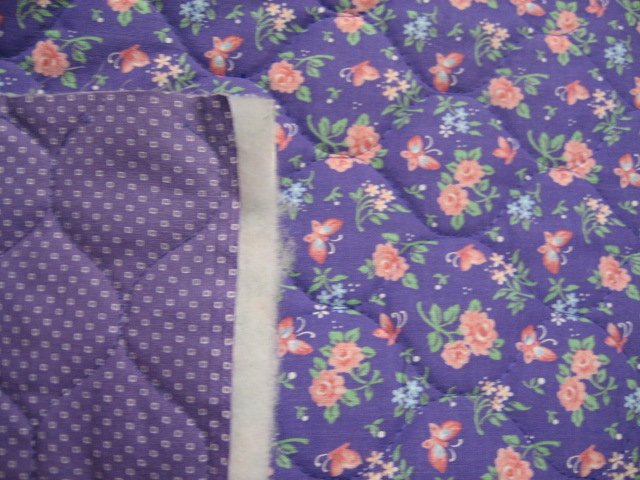 Image 0 of Roses butterflies on double faced lilac Quilted floral Fabric to Sew 33