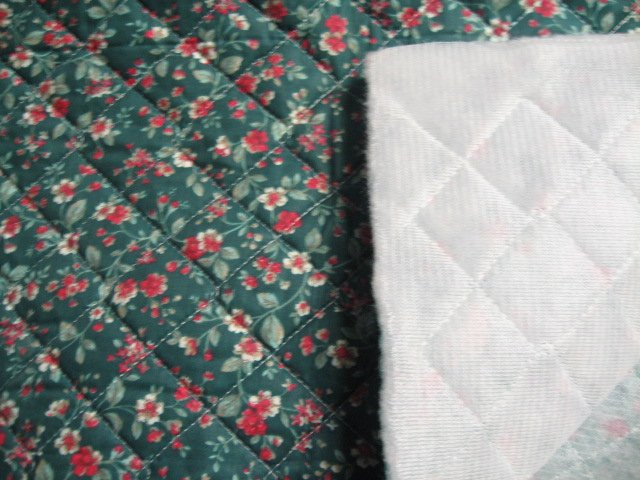 Flowers on single faced dark green Quilted floral Fabric to Sew