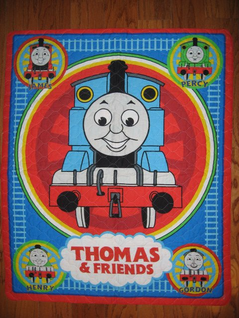 Image 0 of Thomas the tank Train toddler quilted fabric panel blanket