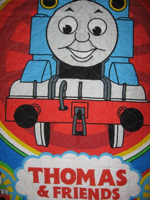 Image 1 of Thomas the tank Train toddler quilted fabric panel blanket