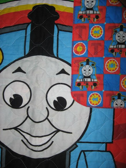 Image 2 of Thomas the tank Train toddler quilted fabric panel blanket