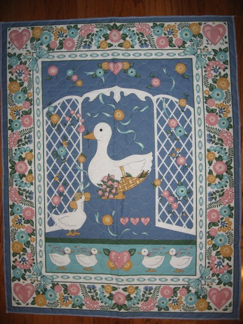 Image 0 of Two ducks and flowers crib quilt fabric panel finished edges for baby