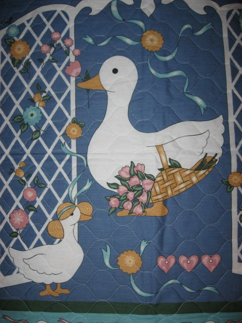 Image 1 of Two ducks and flowers crib quilt fabric panel finished edges for baby