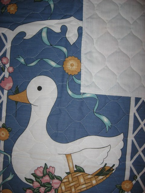 Image 2 of Two ducks and flowers crib quilt fabric panel finished edges for baby