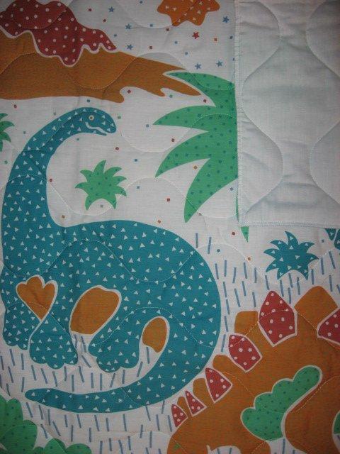 Image 2 of Whimsical dinosaurs crib quilt fabric panel finished edges