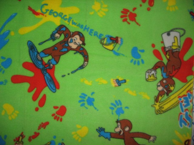 Curious george monkey messy paint small fleece baby for Curious george mural