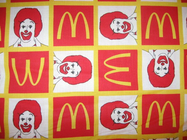 Ronald McDonald in Squares FQ or 1/4 yard fabric