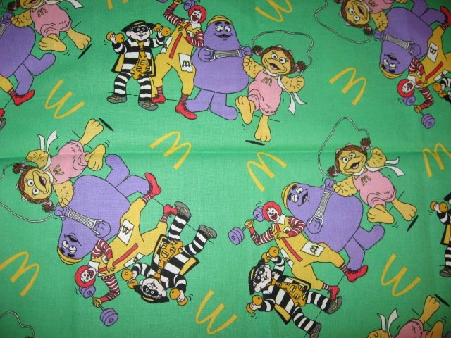 Image 0 of Ronald McDonald Hamburglar and Birdie green fabric by the 1/4 yard