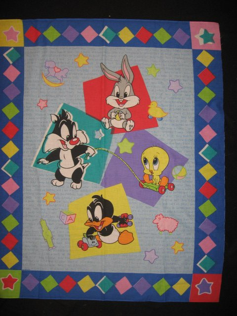 Image 0 of Baby Looney Tunes Tweety Bugs Sylvester Daffy cotton fabric crib panel