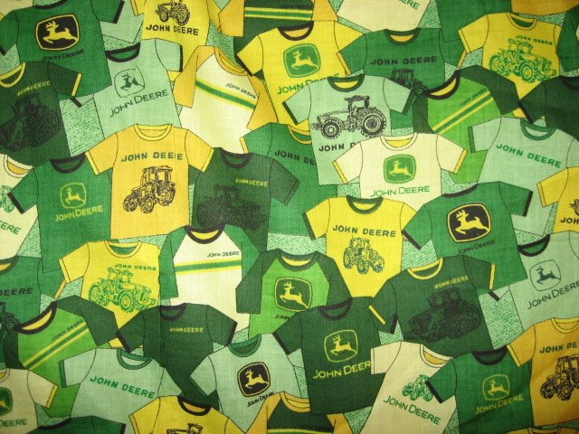John Deere  tee shirt pictures fat quarter  Cotton  rare