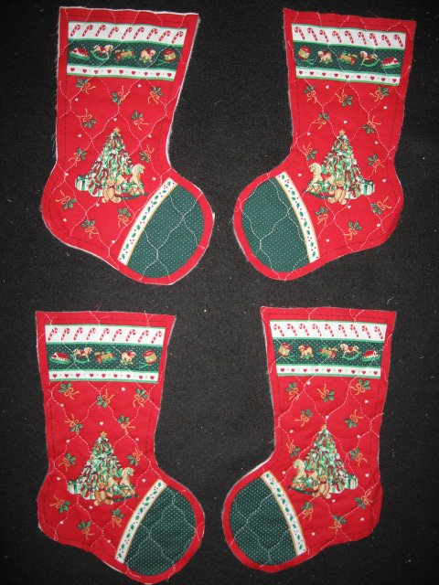 Christmas tree 4 pieces Prequilted fabric Christmas stockings to sew teacher
