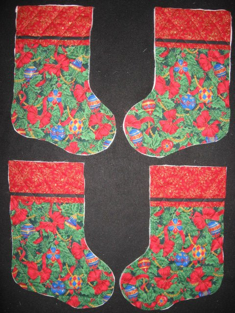 Ornaments and bows 4 pieces Prequilted fabric Christmas stockings to sew