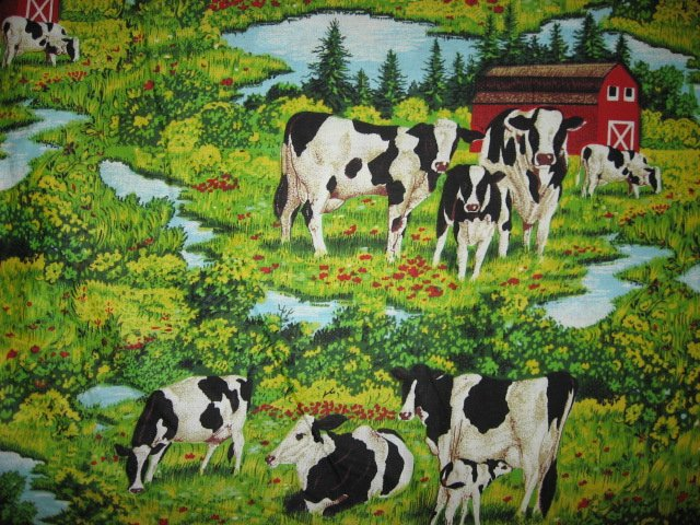 Cows Farm Barn Stream yellow green Grass sewing quilt fabric