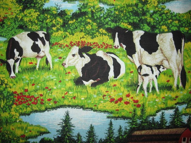 Image 1 of Cows Farm Barn Stream yellow green Grass sewing quilt fabric