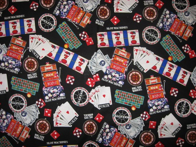 Image 0 of Casino gambling cards slot machines soft sewing cotton Fabric By The Yard rare