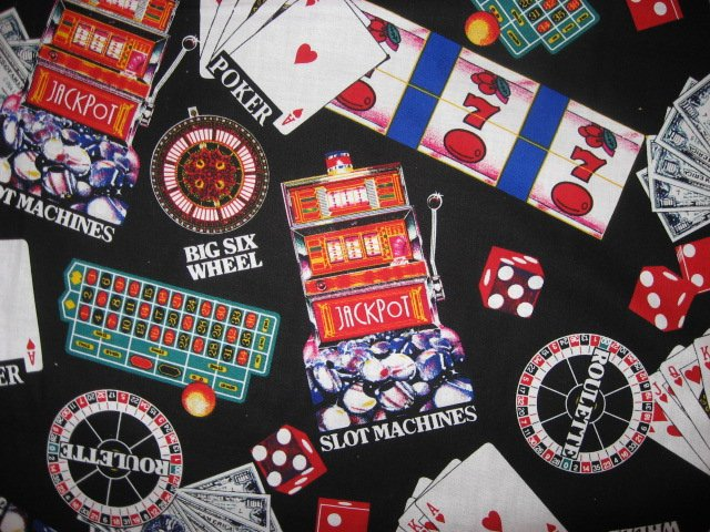 Image 1 of Casino gambling cards slot machines soft sewing cotton Fabric By The Yard rare