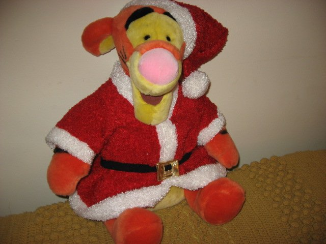 Tigger Santa Disney Christmas stuffed doll with curly tail