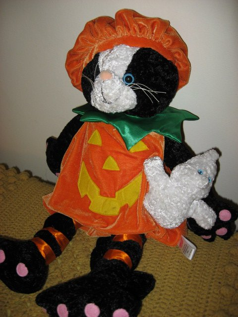 Image 1 of Halloween doll black cat and ghost with pumpkin costume Ages 3 and up