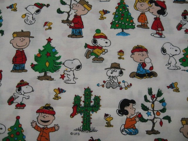 Image 0 of Peanuts Gang Christmas Cactus Tree White Fat Quarter FQ 1/4 yard fabric