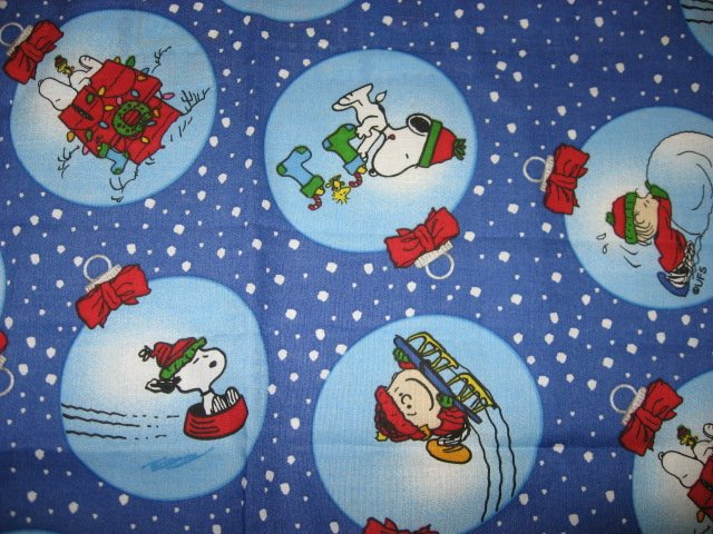 Snoopy and Charlie Brown on Christmas bulbs Fabric Fat Quarter 1/4 yard