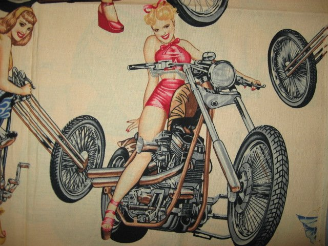 Image 1 of Sexy Motorcycle Pinup Girl Biker Beige Fabric 1/4 yard out of print 2003