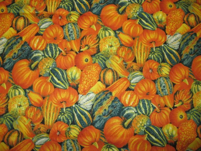 Kyle's Marketplace pumpkins and gourds Fabric FQ 1/4 yard Out of print