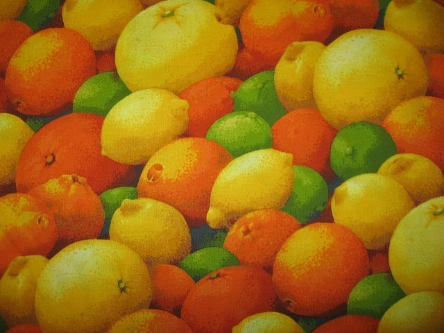 Citrus Fruit orange lemon lime Kyle's Marketplace Fabric FQ or 1/4 yard