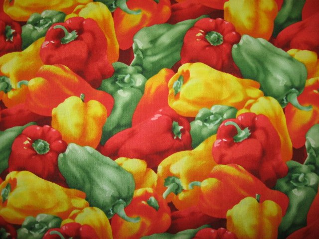 Image 0 of Kyle's Marketplace Yellow red and green Peppers RJR 2004 Fabric FQ or 1/4 yard