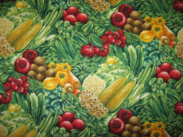 Kyle's Marketplace Beets carrots cauliflower vegetable Fabric FQ or 1/4 yard