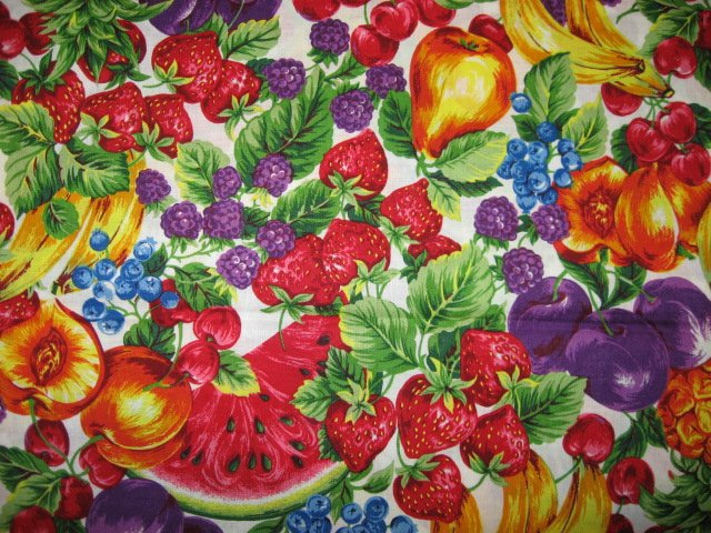 Joan Messmore Fruit on white Quilt Fabric Fat quarter or 1/4 yard