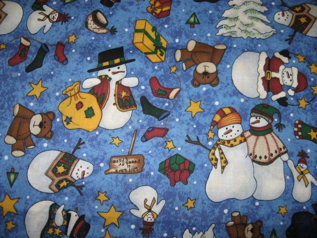 Snowman Teddy bear stars Christmas tree Cotton fabric by the quarter yard FQ