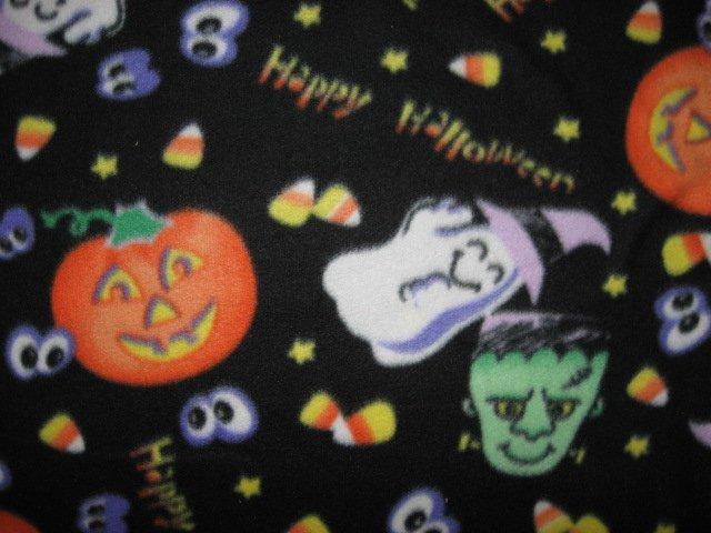 Image 1 of Happy Halloween pumpkin ghost candy monster handmade new Fleece blanket
