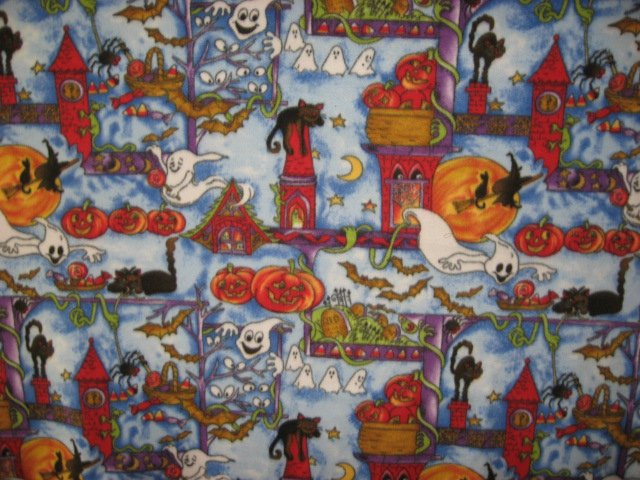 Image 0 of Happy Halloween cats bats pumpkins ghosts handmade new Fleece blanket