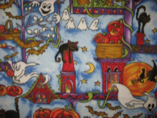 Image 1 of Happy Halloween cats bats pumpkins ghosts handmade new Fleece blanket
