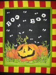 Halloween boo pumpkins handmade new Fleece blanket Panel