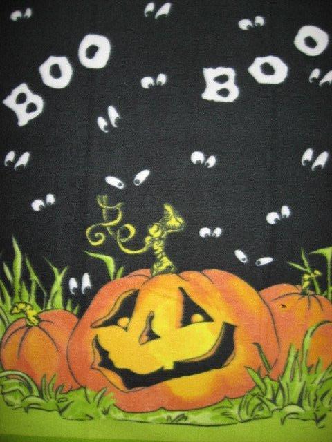Image 1 of Halloween boo pumpkins handmade new Fleece blanket Panel