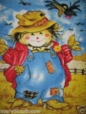 Image 1 of Halloween Smiling Scarecrow handmade new Fleece blanket Panel