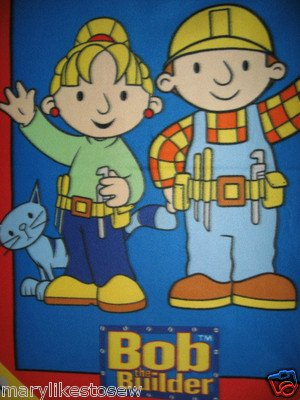 Image 1 of Bob the Builder + Wendy Child bed size licensed handmade fleece blanket 46