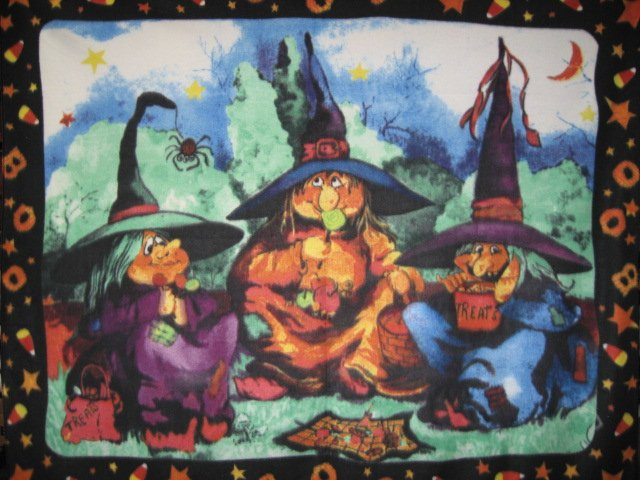 Halloween witches spider and candy handmade rare Fleece blanket Panel