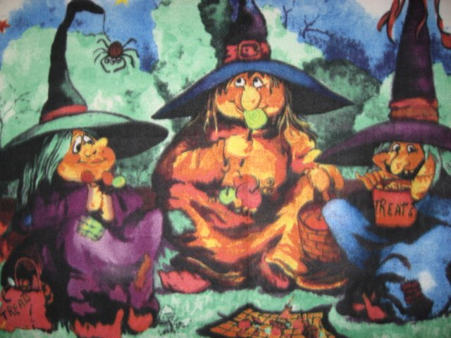 Image 1 of Halloween witches spider and candy handmade rare Fleece blanket Panel
