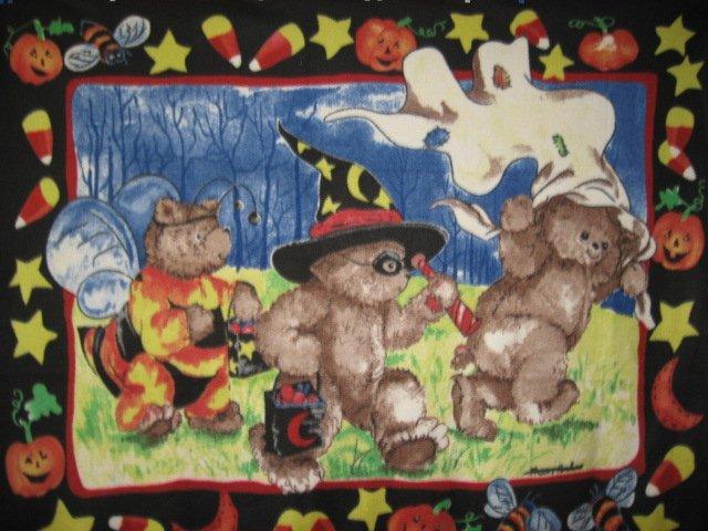 Halloween Teddy Bears in bee pirate ghost costumes handmade Fleece blanket Panel