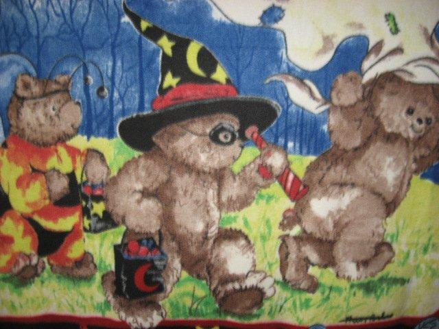 Image 1 of Halloween Teddy Bears in bee pirate ghost costumes handmade Fleece blanket Panel