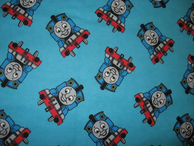 Image 0 of Thomas the train Tank Teal blue Flannel handmade baby blanket